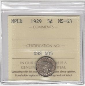 1929 Newfoundland Five Cents Silver - ICCS MS-63