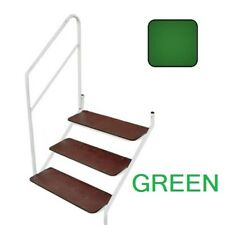 STATIC CARAVAN BOLT ON 3 TREAD STEP AND ADJUSTABLE L OR R HANDRAIL GREEN