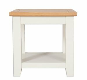 Hobart Ivory/Solid Oak Top Lamp Table With Shelf / Fully Assembled