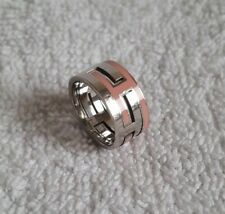 HERMES Sterling Silver Arcane Moveable H Pink Lacquer Puzzle Ring, Size 54, Band