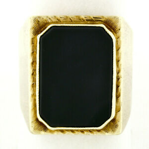 Antique Victorian 14k Gold Large Bold Rectangular Black Onyx Engraved Men's Ring