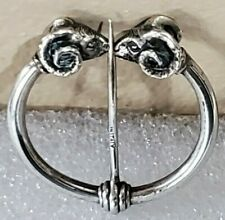 DOUBLE RAM HEADS - KILT/PENANNULAR  -  800 SILVER - BROOCH/PIN