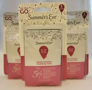 (3) On The Go Summer's Eve Simply Sensitive Cleansing Cloths 5 Pk Travel Wipes