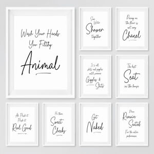 Script Style Bathroom Prints Funny Quote Typography Wall Art Pictures Decor NEW