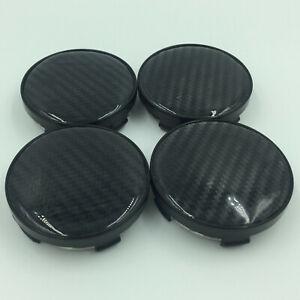 4x Universal 60mm Carbon Fibre Car Alloy Wheel Center Hub Caps Covers No Logo