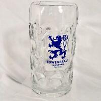 Vintage Lowenbrau Munich 1L Heavy Glass Beer Stein Mug Tankard Liter Thumbprint