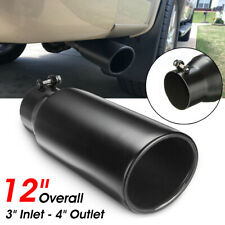 1x 3'' Inlet 4'' Outlet Car Exhaust Tip End Tail Pipe 12'' Stainless Cut-Rolled