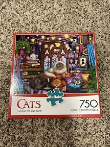 Buffalo Games 750 piece Puzzle - Cats Evening Tea And Tales (w/poster)