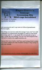 Papa Greco's mild sage breakfast sausage seasoning mix-pork,venison,turkey!