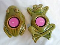 "GREEN FROG CANDLE HOLDER Set of 2 PartyLite Ceramic Floating Sitting 6"" Tealight"