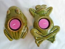 "PartyLite GREEN FROG CANDLE HOLDER Set of 2 Ceramic Floating Sitting 6"" Tealight"