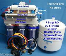 Clear Reverse Osmosis 7 Stage 100/150gpd RO/DI/UV/Booster/Permeate w/Tank