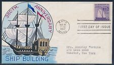 """#1095-22 """"SHIP BUILDING"""" ON FDC HAND PAINTED WRIGHT CACHET BT871"""