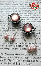 14mm Paar Handmade Nude Creme Rosa Schimmer Vintage Perlen DANGLE PLUGS / TUNNEL