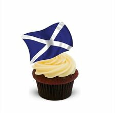 NOVELTY SCOTTISH FLAG 12 STAND UP Edible Image Cake Toppers Birthday saltire