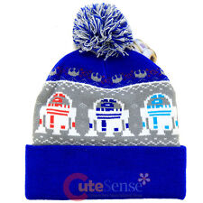 Star Wars R2D2 Cuff Beanie Knitted Hat Intrasia knitted Cap w/Pom Teen Adults