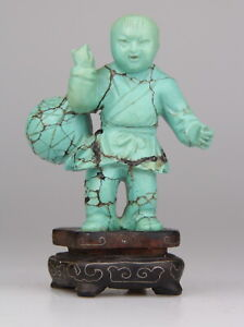 Antique Chinese Carved Turquoise Statue Boy Figure Wood Stand 19th C.