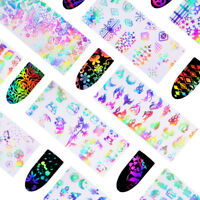 10 Pcs 4*20cm Holographic Nail Foil Rose Butterfly Dandelion Transfer DIY Decals