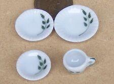 1:12 Scale 4 Piece Single Sitting Leaf Motif Ceramic Tea Set Dolls House TS18