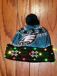 NWOT Philadelphia Eagles LOGO- LED Light up Winter Pom Beanie Hat Cap