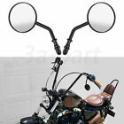 Black Round  Rearview Side Mirrors Fit for Harley Dyna Softai Sportster 883 1200