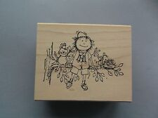 PEDDLER'S PACK RUBBER STAMPS GIRL SCOUT WILDA NEW wood  STAMP