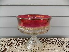 Vintage Kings Crown Ruby Red Flashed Thumbprint Stemware Small Candy Dish