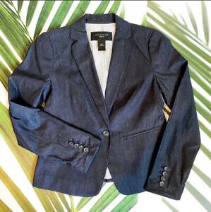 Ann Taylor Petite One Button Long Sleeve Jacket Sz 00 Petite Navy Blue Lined
