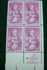 "1981""Babe Zaharias"" Plate Block Scotts #1932 18 Cent X Fine- Mint Unhinged"