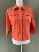 Joan Rivers Cropped Embellished Denim Jacket w/ 3/4 Sleeves - Apricot - X-Small