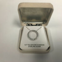 Sterling Silver Circle 1 CT TW Genuine Diamond NeckLace