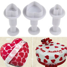 3pcs Mini Heart Cake Fondant Decorating Mould Plunger DIY Cutter Cookie Biscuit