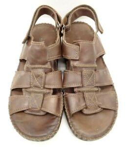 Florsheim Brown Leather Adjustable Slip On Sandals Shoes Men's 12 M