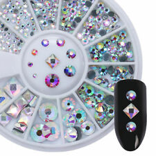 AB Color  3D Nail Art Decoration in Wheel Nail Rhinestones Round Square DIY