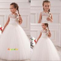 2-14 blanc robe de mariée fille girl wedding dress Fleuriste flower girl tulle-G