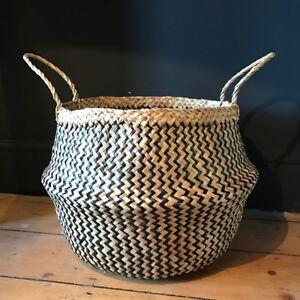 Large Black Natural Seagrass Belly Basket Zig Zag Straw Planter Laundry Basket