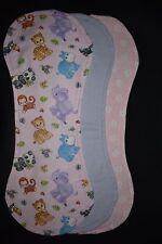 Pink Jungle Animals Burp Blankets, pack of 3 - handmade