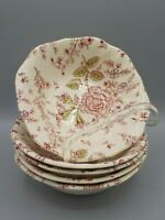 "5 Vintage Johnson Bros Rose Chintz 6.25"" Square Soup Salad Bowls"