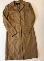 Kenneth Cole Reaction Women's Size Medium 100% Leather Tan Coat Long Jacket