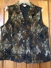 Christopher Banks Vest XL Button Black Brown Tan Pattern Fabric