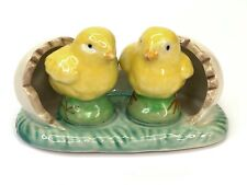 Vintage Chick and Egg Undertray Salt & Pepper Set Hand Painted Cork Stoppers