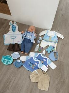 Zapf Boy Baby Born Blue Doll Toy With Accessories  And Clothes