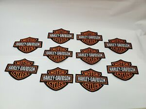 Lot of 10 Black & Orange Embroidered Iron on Harley Davidson Patches