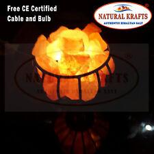 Himalayan Pink Salt Lamp Crystal Natural Healing Ionizing 2-4KG iron Basket Lamp