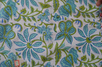 100% Cotton Fabric Sanganeri Running 10 Yard Indian Hand Block Print Loose Swing