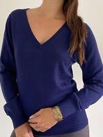 NEW MJ BALE Women's Navy Blue 100% Wool Knit Top Size L AU 14 Work Career Office