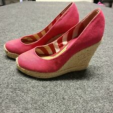 BCBG Wedge BRIGHT PINK Women's Shoes Size 7.5 Fabric Upper Rope Bottoms