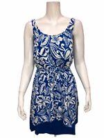 Denim & Co. Beach Handkerchief Hem Tankini Swimsuit Sapphire Floral 24W Size