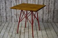 Vintage Style Industrial Cafe Bar Table Pine Top Red 15 AVAILABLE inc VAT