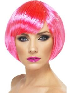 Pink Neon Babe Wig Ladies Glamour Short Bob Wig Fancy Dress Accessory